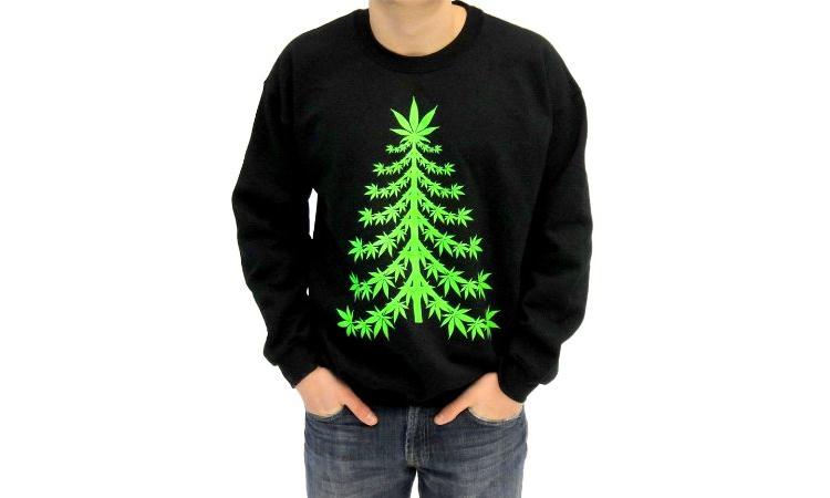 """Marijuana Christmas Tree"" ugly sweater"