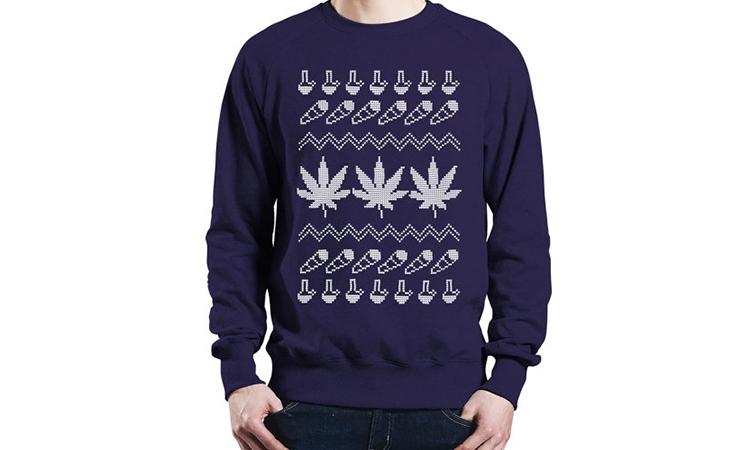 """High Tidings"" ugly cannabis Christmas sweater"