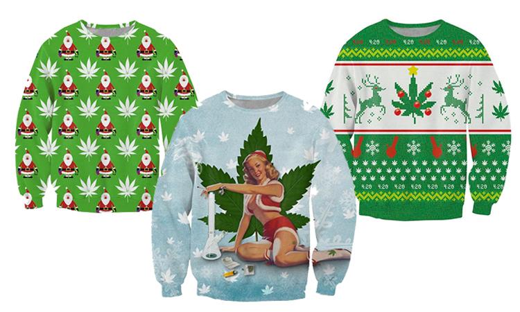 Three ugly cannabis Christmas sweaters