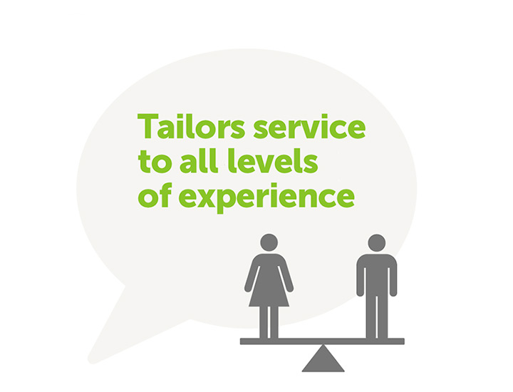 Tailors service to all levels of experience