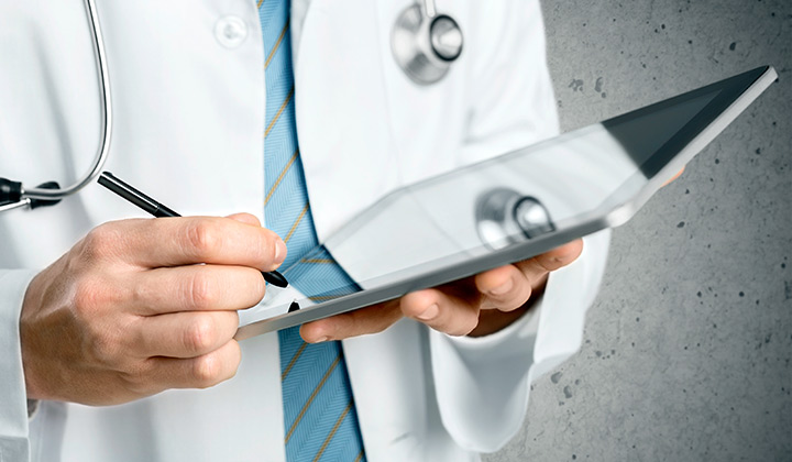 Physician with iPad