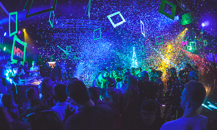 Confetti at DJ Set at South by Southwest Music Festival in Austin, Texas