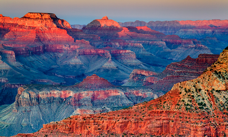 Grand Canyon National Park in Arizona at sunset