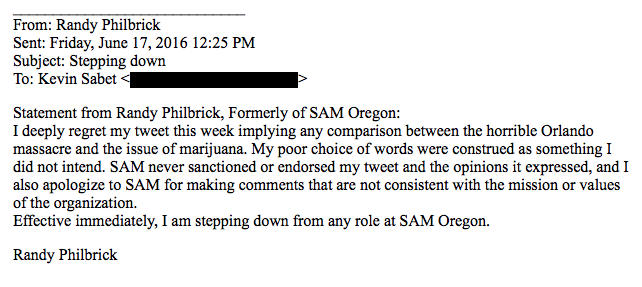 SAM Oregon resignation email from Randy Philbrick to Kevin Sabet. Obtained by Leafly.