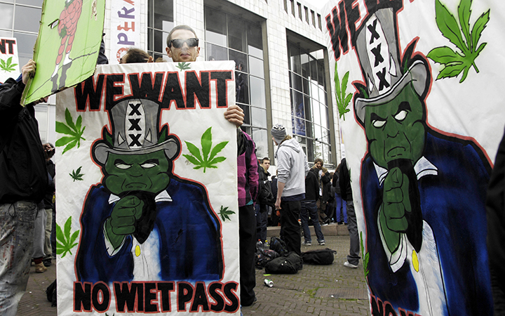 "Protesters came out in force after the Netherlands adopted its ""weed pass"" program, as seen in this 2012 photo from Amsterdam. Photo by Derrick Bergman"