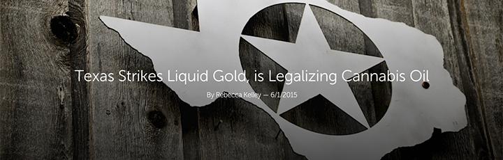 "Leafly ""Texas Strikes Liquid Gold, is Legalizing Cannabis Oil"" Article Header"