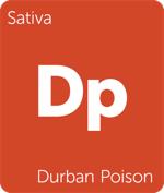 Leafly sativa Durban Poison cannabis strain tile