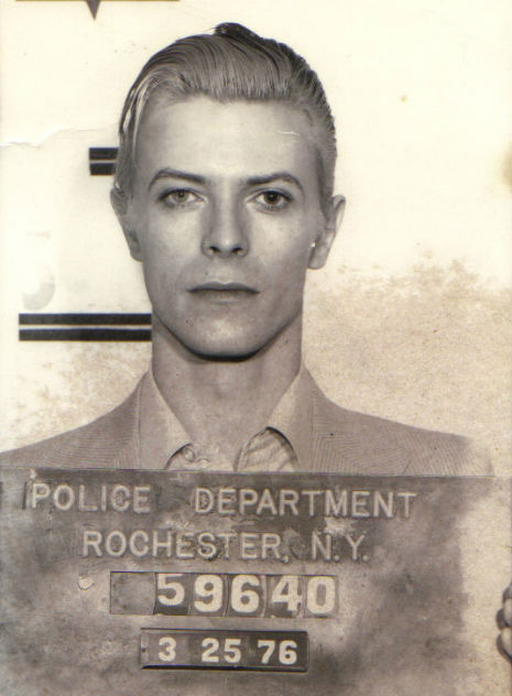 David Bowie's mug shot for his 1976 arrest for cannabis possession in Rochester, New York
