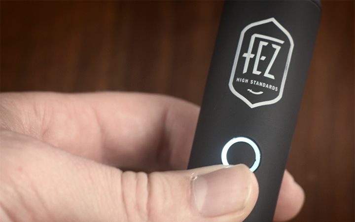 Turning on the FEZ dry leaf portable vaporizer