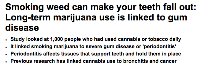 Daily Mail's sensationalist headline about cannabis and periodontal disease