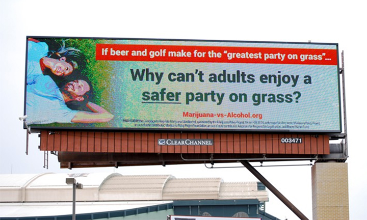 """Party on grass"" billboard in Scottsdale, Arizona"