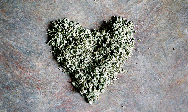 Cannabis shake in the shape of a heart