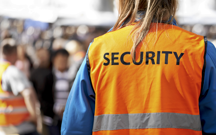 Security personnel at a music festival