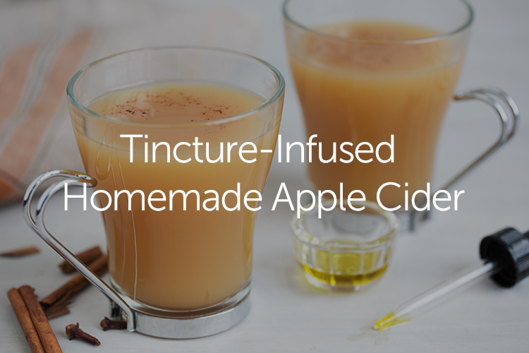 Tincture-infused homemade apple cider