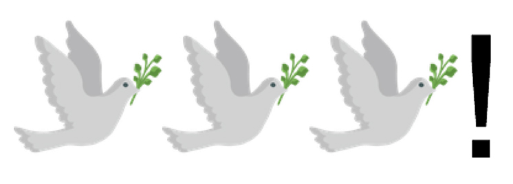 Emojis: 3 Doves + Exclamation Mark