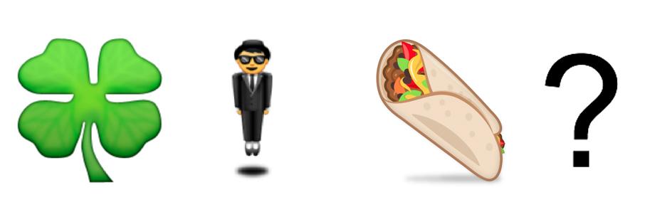 Emojis: Shamrock + Person in Suit + Burrito + Question Mark