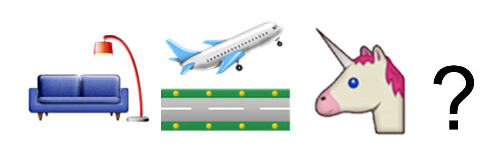 Emojis: Couch + Airplane Taking Off + Unicorn + Question Mark