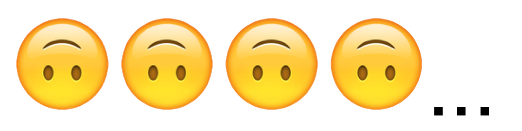 Emojis: 4 upside down smiley faces
