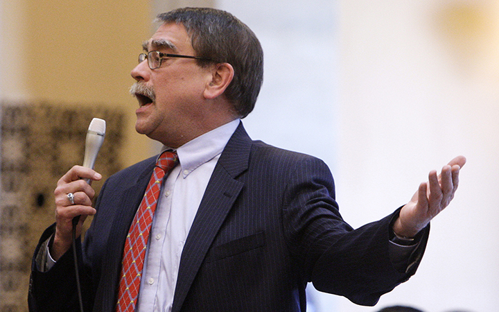 Republican Ohio state Sen. Bill Seitz speaks during a floor debate in Columbus, Ohio. AP Photo