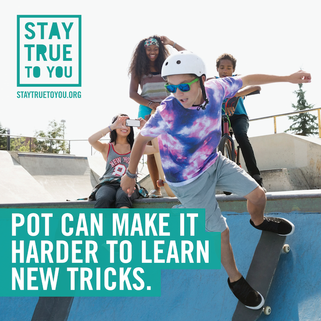 One of Oregon's new ads designed to prevent underage cannabis use. There's no question: That kid is the coolest. Image courtesy Oregon Health Authority