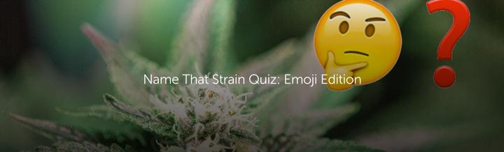 "Leafly ""Name That Strain Quiz Emoji Edition Quiz"" Header"
