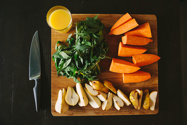 Ingredients for a raw cannabis, sweet potato, and pear smoothie