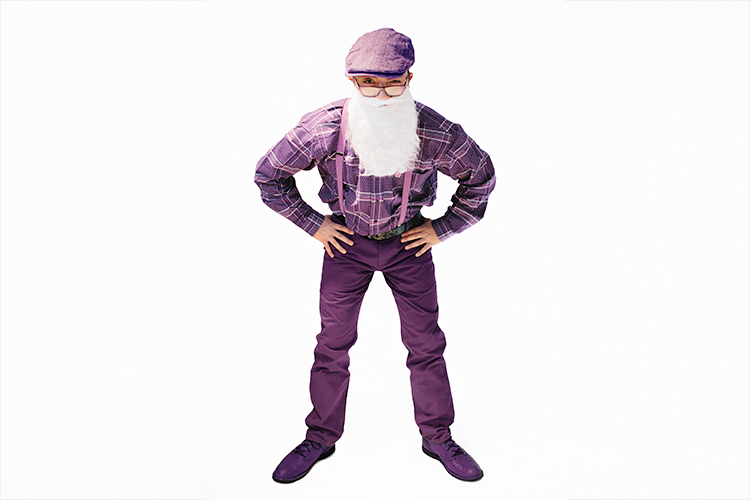 "Man wearing purple ""grandpa"" costume"
