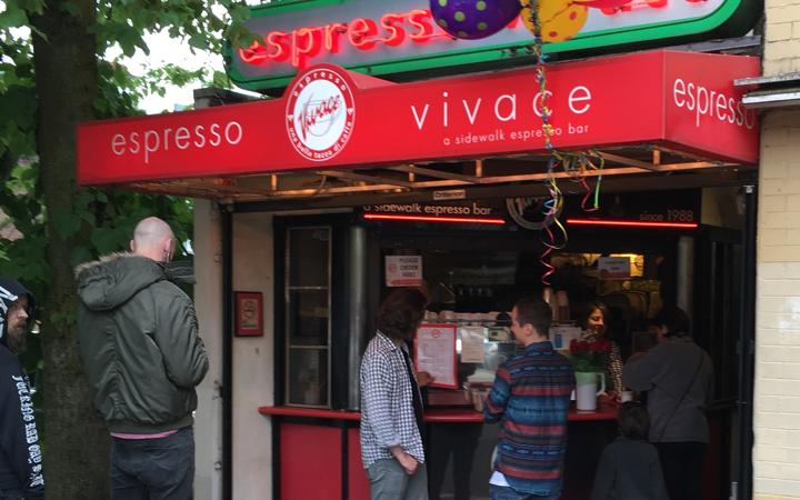 Espresso Vivace sidewalk coffee bar on Broadway in Seattle, Washington