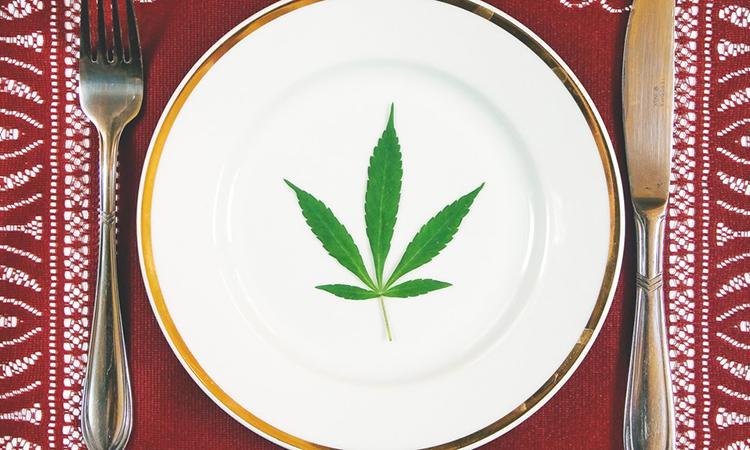cannabis leaf on a dinner plate