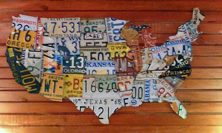 map of the United States made out of license plates