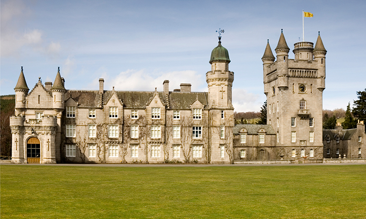 Balmoral Castle in Scotland at sunset