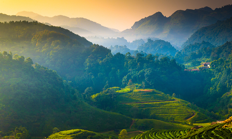 Thailand mountain landscape at sunset