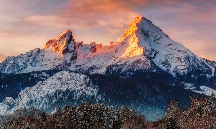 The Alps at sunset