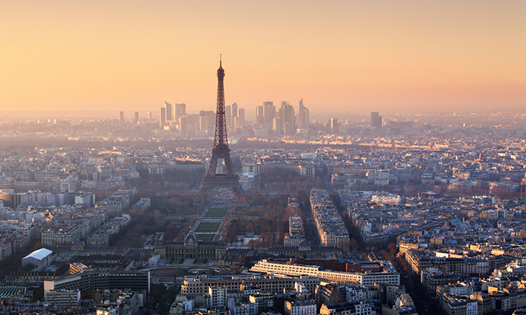 Paris cityscape at sunset