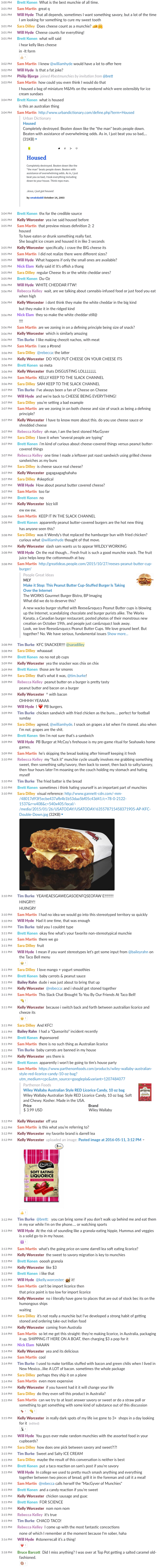 Leafly slack chat discussion about the best cannabis munchie