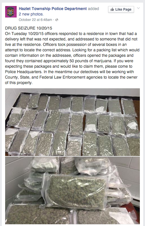 """New Jersey police invite the owner of a 50-lb stash of cannabis to """"claim"""" it at police headquarters"""