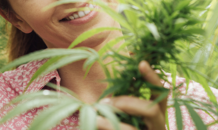 A woman smiling while holding a budding flower on a cannabis plant