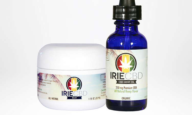 IRIE cannabis CBD hemp oil and balm containers on a white background