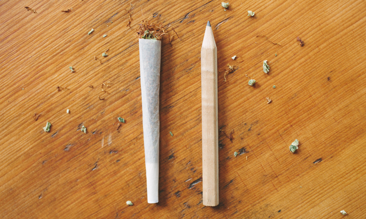 Open-ended spliff next to a golf pencil with tobacco and cannabis shake spread on a table