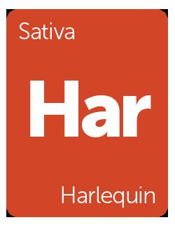 Leafly Harlequin cannabis strain tile