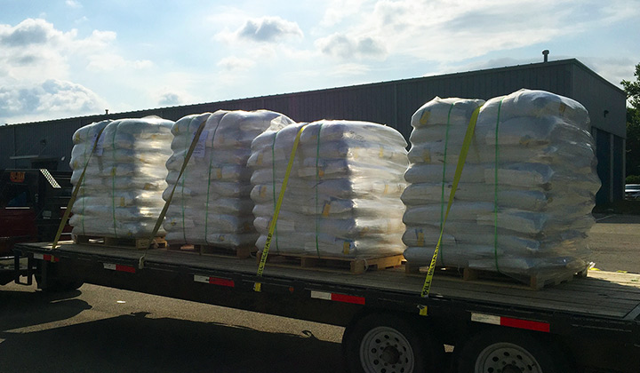 A truck loaded with hemp seeds